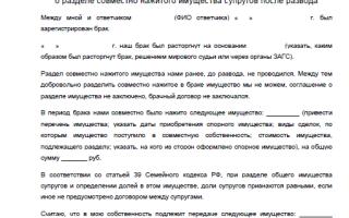 Исковое заявление о разделе совместно нажитого имущества: образец и подробно о составлении ходатайства
