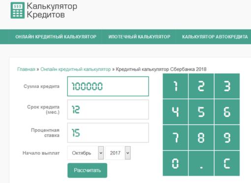 кредитный калькулятор сбербанк рф