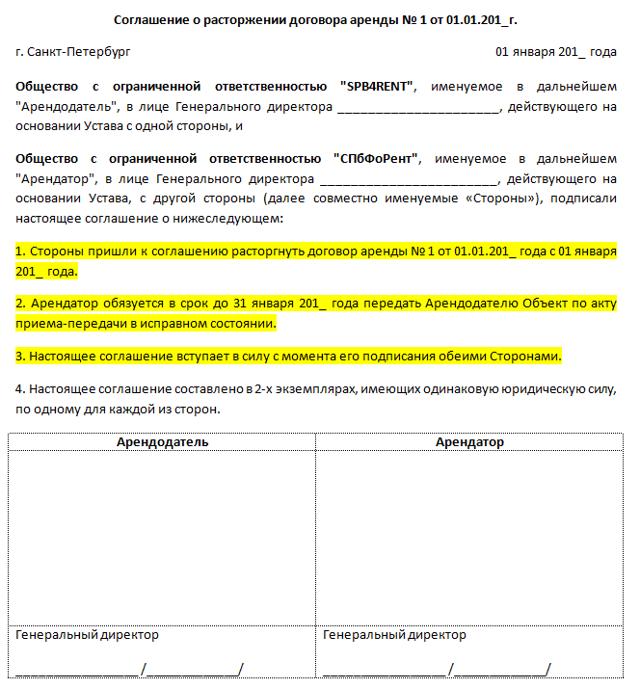 Письмо о расторжении договора аренды арендатором: правила расторжения и образец